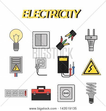 Electricity flat icons set. Vector illustration EPS 10