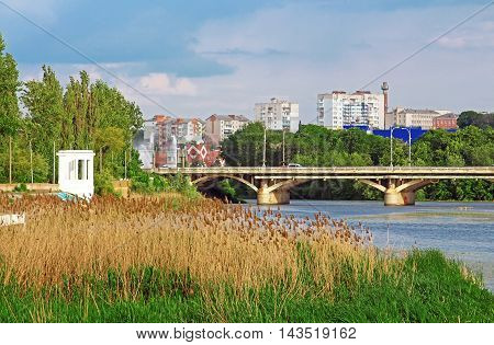 View of bridge through river Southern Buh in Vinnytsia, Ukraine