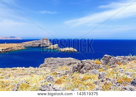 view of the sea and the beautiful lagoon on top of Mediterranean Sea Rhodes