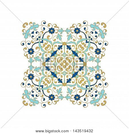 Vintage islamic style brochure. Elegant element for design. Floral border. Lace decor for birthday and greeting card, wedding invitation.