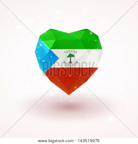 Flag of Equatorial Guinea in shape of diamond glass heart in triangulation style for info graphics, greeting card, celebration of Independence Day, printed materials