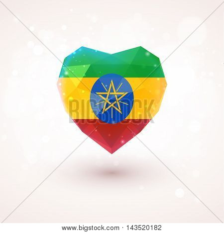 Flag of Ethiopia in shape of diamond glass heart in triangulation style for info graphics, greeting card, celebration of Independence Day, printed materials