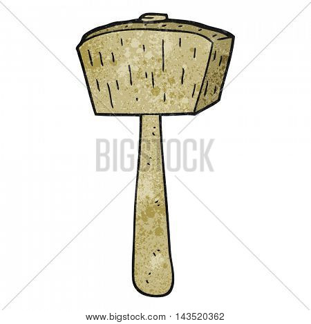 freehand textured cartoon wooden mallet