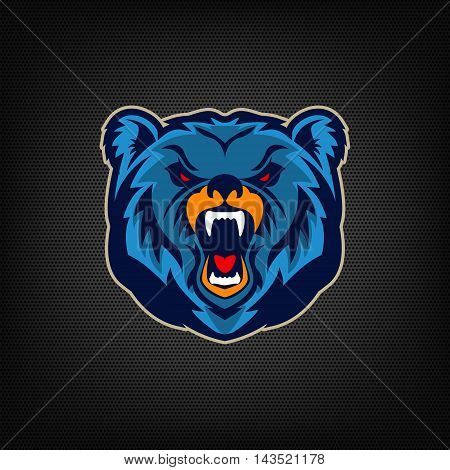 Angry bear head. Sports team mascot. Vector illustration.