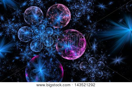 Fractal Blue Christmas balls or planet with a pink tinge on a dark background with blue stars in space