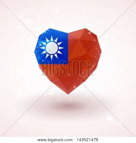 Flag of Taiwan in shape of diamond glass heart in triangulation style for info graphics, greeting card, celebration of Independence Day, printed materials