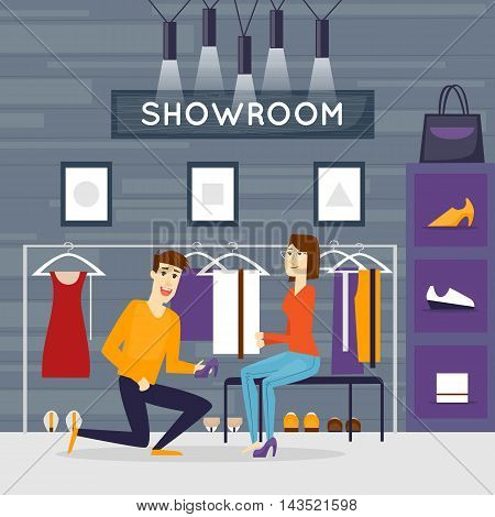 Fashion store for women. Shopping. Store Interior. Shoes and accessories. Flat design vector illustrations.