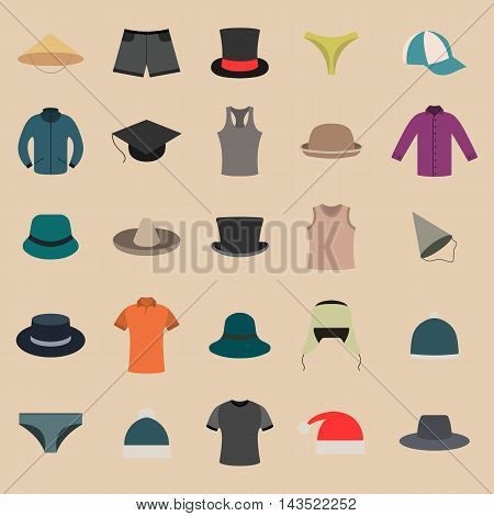 Set various upper and lower clothing and headwear wardrobe design items vector illustration.