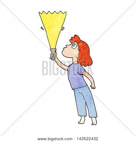 freehand textured cartoon woman searching with torch