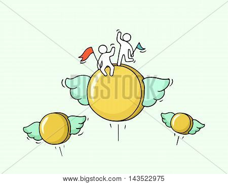 Sketch of flying coins with little workers. Doodle cute miniature with money and teamwork. Hand drawn cartoon vector illustration for business and finance design.