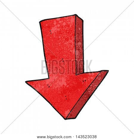 freehand textured cartoon arrow pointing down