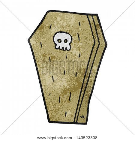 freehand textured cartoon halloween coffin