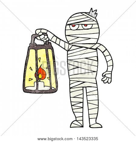 freehand textured cartoon mummy
