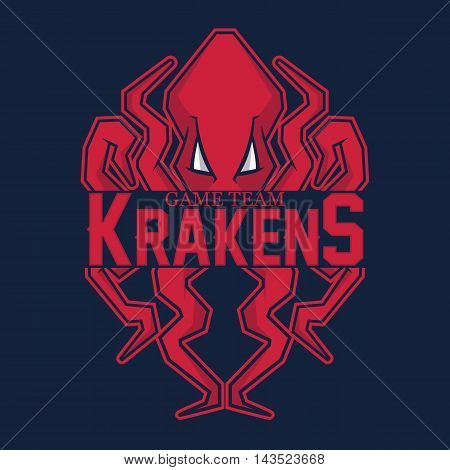 Modern professional logo for sport team. Kraken mascot. Octopus, vector symbol on a red background