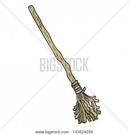 freehand textured cartoon witch's broom