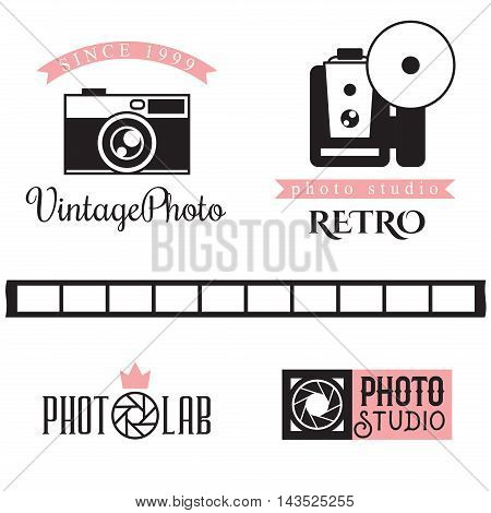 Vector photo studio badge logo Set in vintage retro style. Camera shutter photo camera and lens badges icons and design elements.
