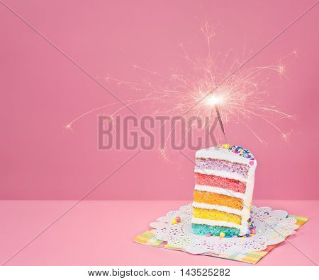 Colorful Birthday Cake With Sparkler
