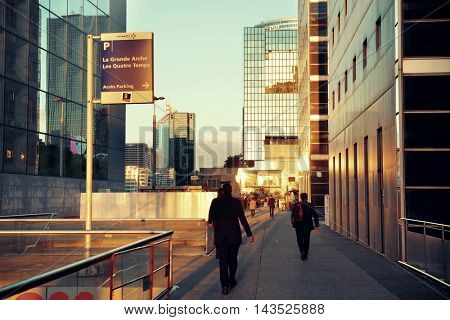 PARIS, FRANCE - MAY 13: Street view in la Defense business district on May 13, 2015 in Paris. With the population of 2M, Paris is the capital and most-populous city of France.