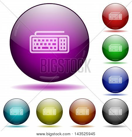 Set of color computer keyboard glass sphere buttons with shadows.