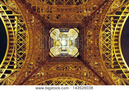 PARIS, FRANCE - MAY 13: Eiffel Tower night closeup view on May 13, 2015 in Paris. It is the most-visited paid monument in the world with annual 250M visitors.
