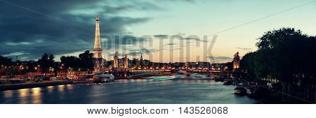 PARIS, FRANCE - MAY 13: Seine river night view on May 13, 2015 in Paris. With the population of 2M, Paris is the capital and most-populous city of France.