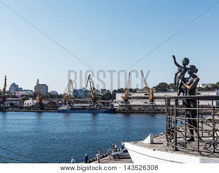 Odessa, Ukraine - August 15, 2016: Container Cranes In Cargo Port Terminal, Cargo Cranes Without Job