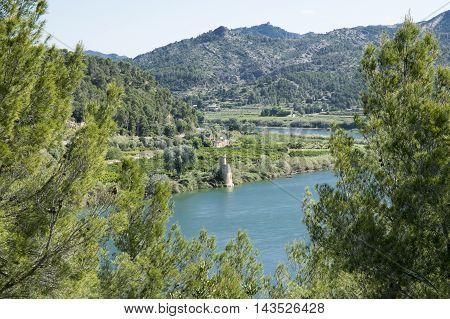 Landscape by the river ebro in Tarragona, Catalonia, Spain.