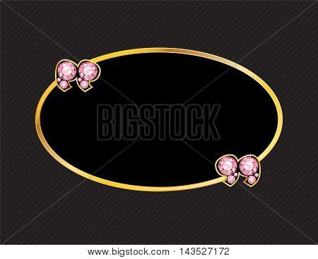 Rose Quartz Stone Quotes on Gold Metal Speech Bubble over Pinstripe Background