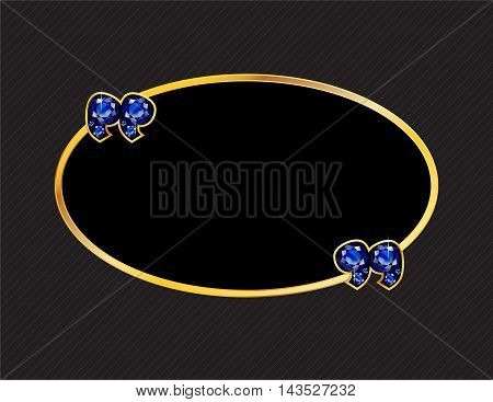 Sapphire Stone Quotes on Gold Metal Speech Bubble over Pinstripe Background