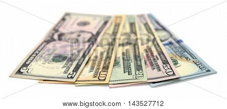 Heap Of Dollar Bills Isolated On White Background