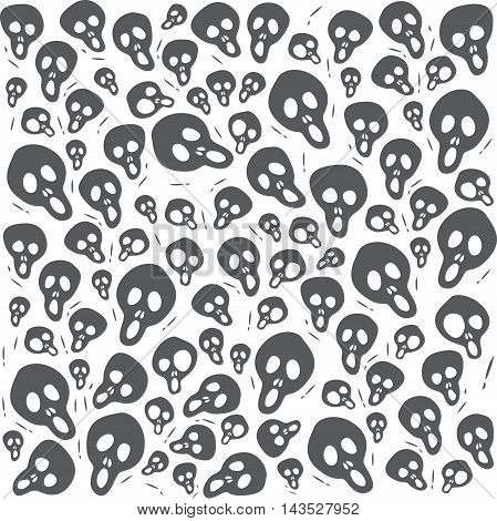 Cartoon Scream Skulls on White Background Seamless Pattern. Editable pattern in swatches. Textile