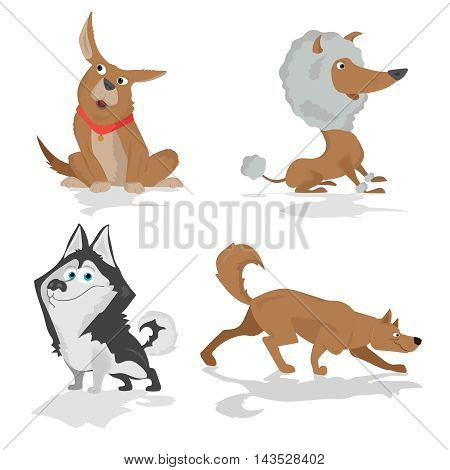 Funny cartoon dogs of various breeds standing in side view set isolated on white