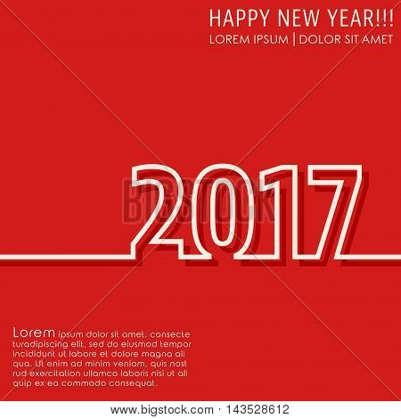 Happy new year 2017 background. Cover brochure flyer greeting card template. Vector illustration