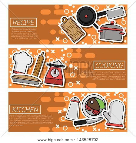 Set of Horizontal Banners about kitchen. Vector illustration, EPS 10