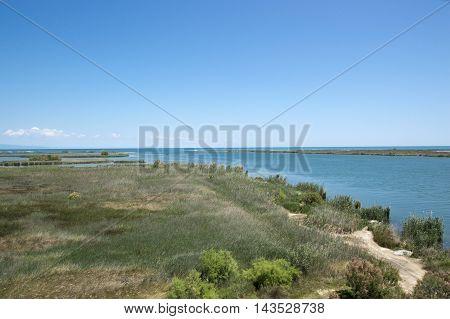 Ebro river mouth in Tarragona, Catalonia, Spain.