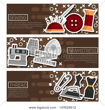Set of Horizontal Banners about Sewing. Vector illustration, EPS 10