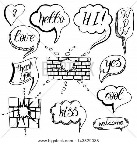 Hand drawn set of speech bubbles with dialog words: Hello Love Wow Yes Hi. Vector illustration.
