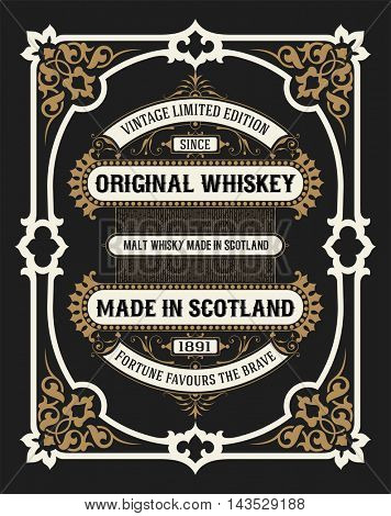 Vintage frame and label for whiskey product. You can use it for other products such as Beer, Wine, Shop decoration. Vector illustration