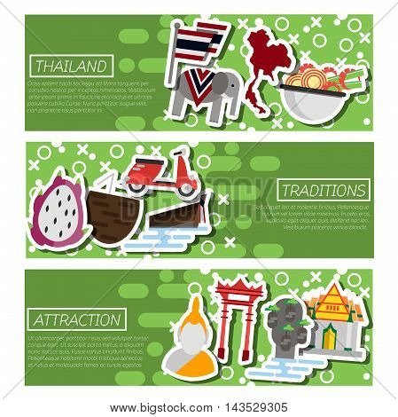 Set of Horizontal Banners about Thailand. Vector illustration, EPS 10