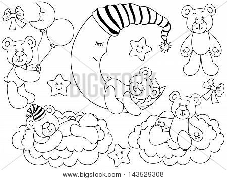 Vector black and white cute baby bears set with moon, clouds, stars and balloons