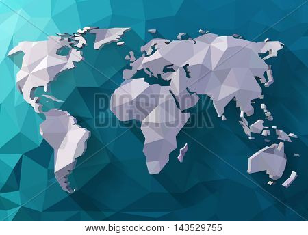 Vector world map in polygonal style. Low poly design. Origami planet illustration.