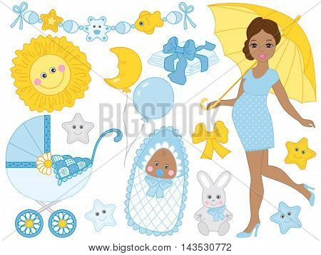 Vector African American pregnant woman set with baby boy