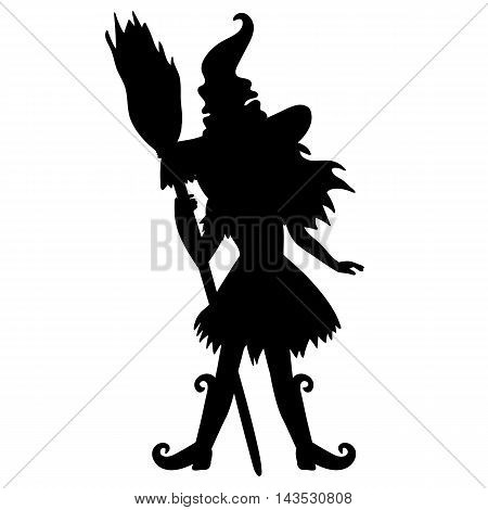 Vector Halloween standing witch silhouette with broomstick