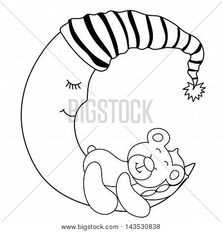 Vector black and white sleeping baby bear on the moon