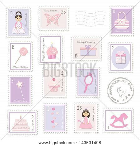 Different postage stamps with girly stuff. For birthday or scrapbook design.
