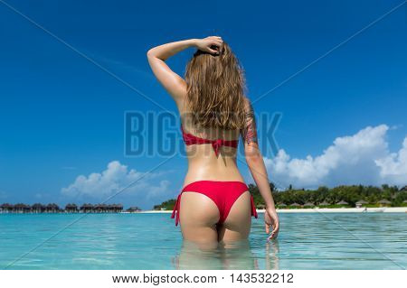 Beautiful Woman In Sexy Bikini Over Beach Background