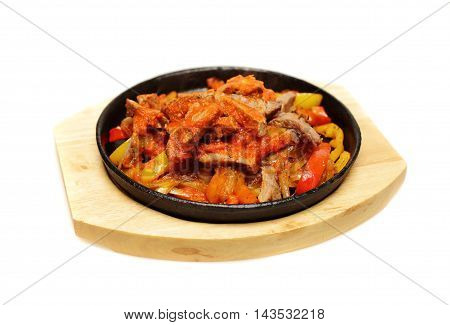tasty Fajitas on White Background Mexican Cuisine