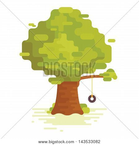 Big green tree with swing isolated on white background. vector. flat design. modern theme.