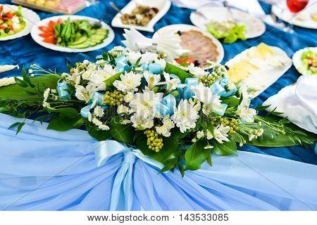 The elegant dinner table. decorations for wedding