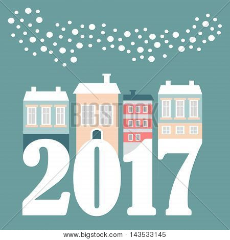 Cute Christmas New Year 2017 card with winter houses falling snowflakes. Vector illustration flat design.